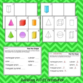 Shapes Write the Room Packet (3-D)