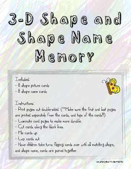 3-D Shapes and Names Memory