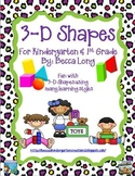 3-D Shapes for Kindergarten and First Grade