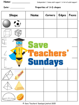 3-D Shapes Worksheets (2 levels of difficulty)