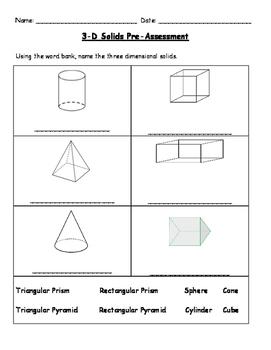 2nd Grade 3-D Solids Pre-Assessment