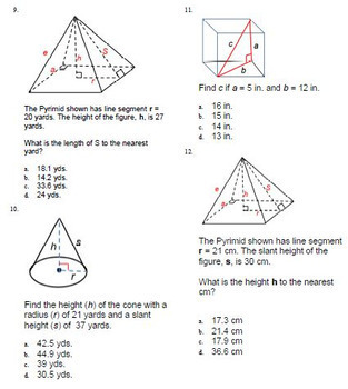 3 Dimensional Solids Pythagorean Theorem ExamView Test Bank 8.G.B.7 Geometry
