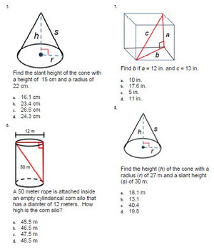 Pythagorean Theorem 3 Dimensional Solids Test Bank Geometry for ExamView