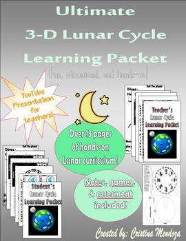 3-D Phases of the Moon and Lunar Cycle Packet
