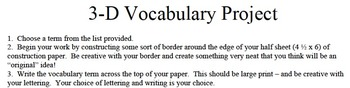 3-D Vocabulary Project