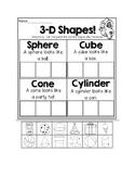 3-D and 2-D shape cut, sort, and paste center activity
