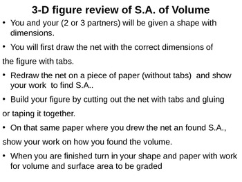 3-D figure construction activity review area and volume