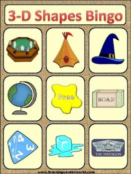 3-D shapes bingo