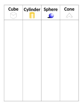 3 D shapes sorting worksheet