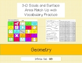 3-D solids, Nets and Surface Area Match Up and Word Search