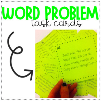 3 - DIGIT ADDITION & SUBTRACTION WORD PROBLEM TASK CARDS! SET  OF 20!
