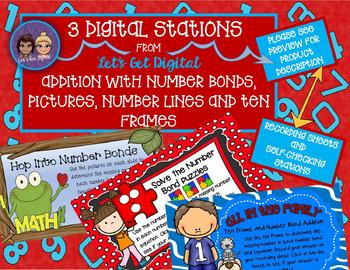 3 DIGITAL TASK CARD STATIONS - Working With Number Bonds Addition Through 10