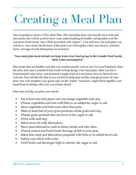 Creating A Meal Plan Assignment