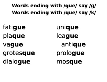 3 Day Minilessons Reading Words with -gue and -que