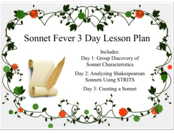 3 Day Sonnet Fever Lesson Bundle with 5E Lessons, Worksheets, and Rubric