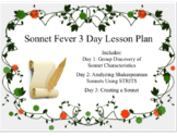 3 Day Sonnet Fever Lesson Bundle with 5E Lessons, Workshee