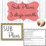 3 Day Sub Plans