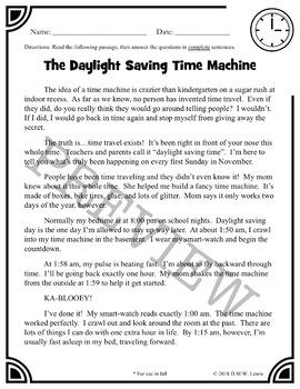 Daylight Saving Time Reading Comprehension Passages: Daylight Saving Time Fun