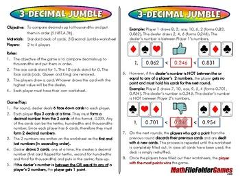 3-Decimal Jumble - 5th Grade Game [CCSS 5.NBT.A.3b]