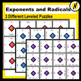3 Differentiated Order of Operations Matching Puzzles with Roots and Exponents