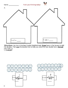 3 Differentiated Levels Near Doubles Math Activity Sheets