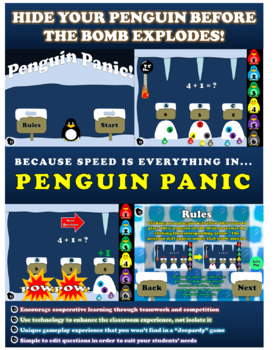 3 Dig Addition NO REGROUP Cooperative Learning Game | Penguin Panic – EDITABLE