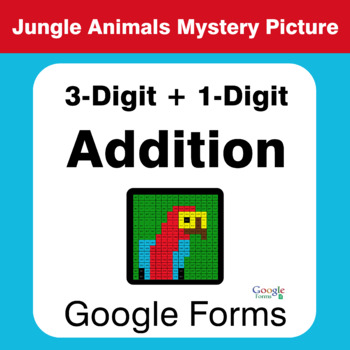 3-Digit + 1-Digit Addition - Animals Mystery Picture - Google Forms