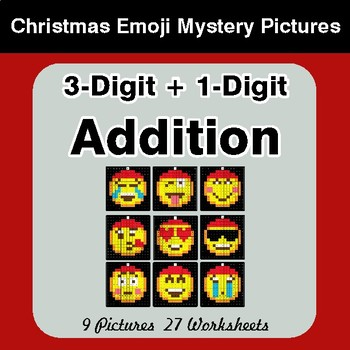 3-Digit + 1-Digit Addition - Christmas EMOJI Color-By-Number Math Mystery Pictures