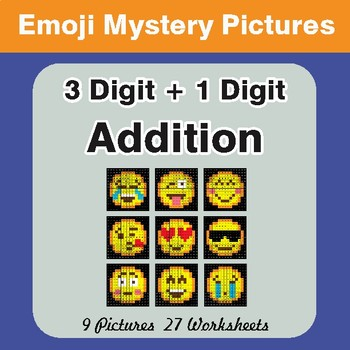 3-Digit + 1-Digit Addition Color-By-Number EMOJI Math Mystery Pictures