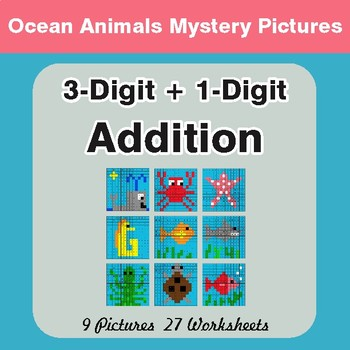 3-Digit + 1-Digit Addition - Color-By-Number Mystery Pictures