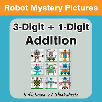 3-Digit + 1-Digit Addition - Color-By-Number Math Mystery Pictures