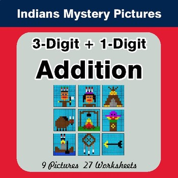 3-Digit + 1-Digit Addition - Color-By-Number Math Mystery Pictures - Indians Theme
