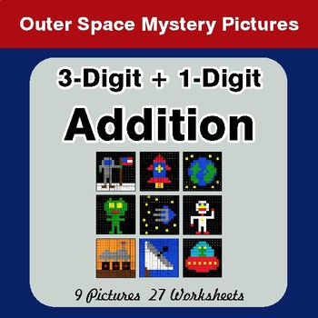 3-Digit + 1-Digit Addition - Color-By-Number Math Mystery Pictures - Space theme