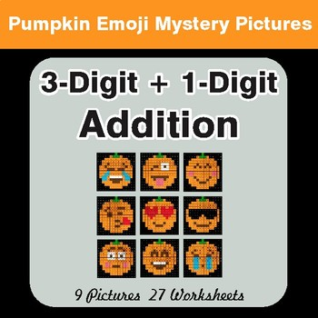 3-Digit + 1-Digit Addition - Color-By-Number PUMPKIN EMOJI Math Mystery Pictures
