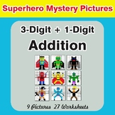 3-Digit + 1-Digit Addition - Color-By-Number Superhero Mystery Pictures