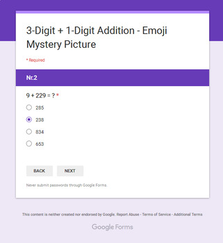 3-Digit + 1-Digit Addition - EMOJI Mystery Picture - Google Forms