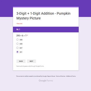 3-Digit + 1-Digit Addition - EMOJI PUMPKIN Mystery Picture - Google Forms