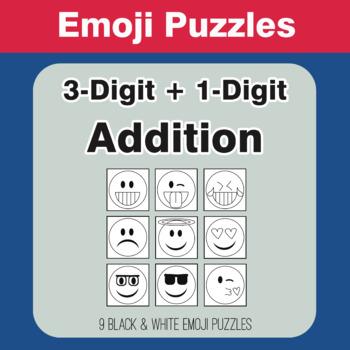 3-Digit + 1-Digit Addition - Emoji Picture Puzzles