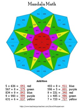 3-Digit + 1-Digit Addition Mandala Math Color by Number