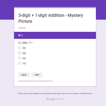 3-Digit + 1-Digit Addition - Monster Mystery Picture - Google Forms