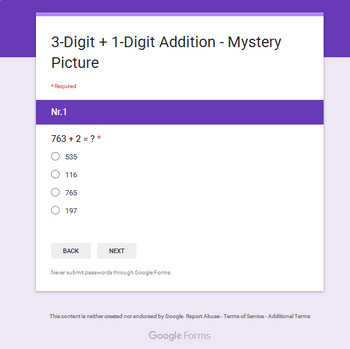 3-Digit + 1-Digit Addition - Superhero Mystery Picture - Google Forms