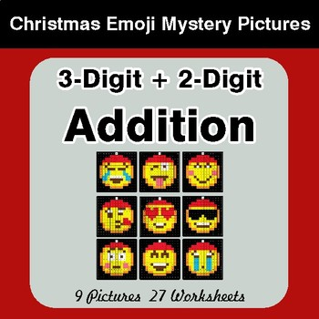 3-Digit + 2-Digit Addition - Christmas EMOJI Color-By-Number Mystery Pictures