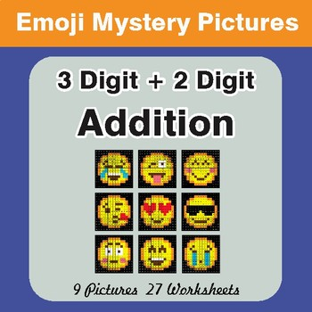 3-Digit + 2-Digit Addition Color-By-Number EMOJI Math Mystery Pictures