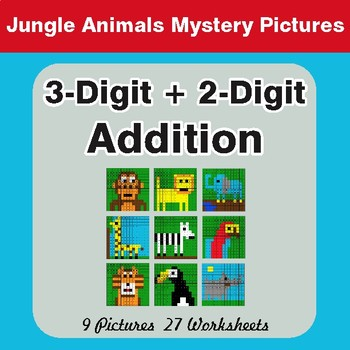 3-Digit + 2-Digit Addition - Color-By-Number Mystery Pictures
