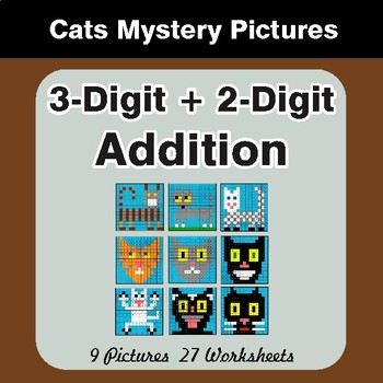 3-Digit + 2-Digit Addition - Color By Number Math Mystery Pictures