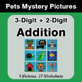 3-Digit + 2-Digit Addition - Color-By-Number Mystery Pictures - Pets Theme