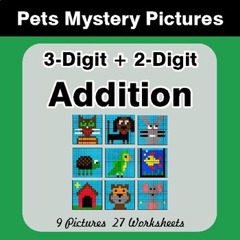 3-Digit + 2-Digit Addition - Color-By-Number Math Mystery Pictures - Pets Theme
