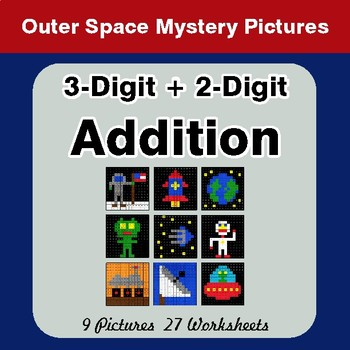 3-Digit + 2-Digit Addition - Color-By-Number Math Mystery Pictures - Space Theme