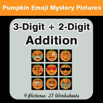 3-Digit + 2-Digit Addition - Color-By-Number PUMPKIN EMOJI Mystery Pictures