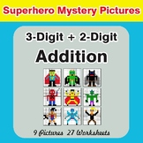 3-Digit + 2-Digit Addition - Color-By-Number Superhero Mystery Pictures